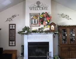decorating the fireplace mantel and wall for spring most items