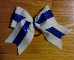 white and blue bows designs by debilyn cheer bows