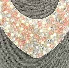 pink collar necklace images Fashion jewellery short resin pink white beaded collar necklace JPG