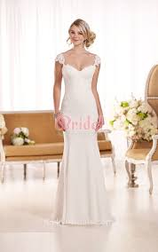 chic low back lace cap sleeve v neck mermaid bridal gown