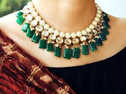 emerald stone necklace jewelry images Semi precious emerald stone and kundan necklace jewellery the jpg