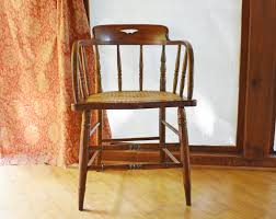Wooden Chair Antique Wood Chair Barrel Back Wooden Chair Small Captains