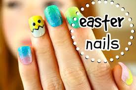 freehand cloud design nail art tutorial easter nail art tutorial easter and ombre sponged easter