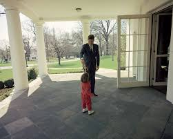 president john f kennedy with jfk jr outside oval office new