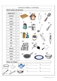 vocabulary matching worksheet in the kitchen worksheet free