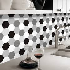 wholesale removable wall stickers roll online buy best removable pgts019 white black grey hexagon waterproof strong removable strong