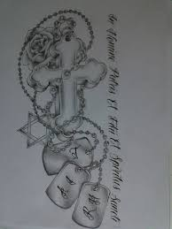 Religious Sleeve Tattoos Ideas Just The Tags And Cross Though Religious Tattoo Design For