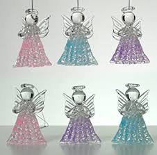 glass decorations set of 6 spun glass praying