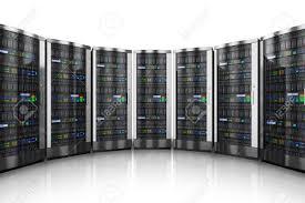 data center servers row of network servers in data center isolated on white background