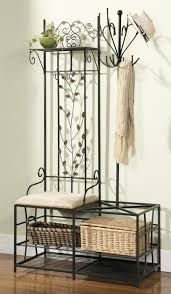 Entryway Storage Bench With Coat Rack Interior Nice Shoe Organizer Bench Leaves Detail Decoration Metal