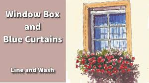 Window Box Curtains How To Draw And Paint A Window Box And Blue Curtains In Line And