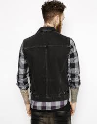 biker waistcoat asos sleeveless denim biker jacket in black for men lyst