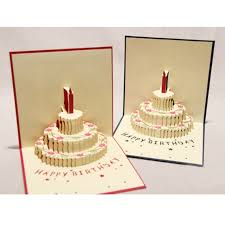 3d pop up greeting card handmade happy birthday cake postcard