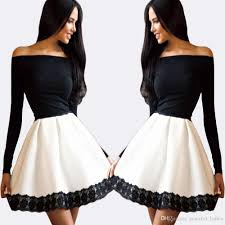 black and white ballerina party dress short a line homecoming