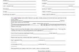 creative dj contract form template templatezet
