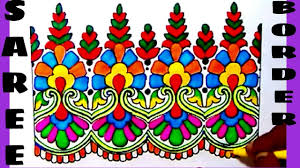 draw saree border for embroidery designs pencil designs for