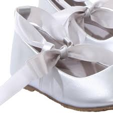silver ballet flats girls dress shoes with grosgrain ribbon
