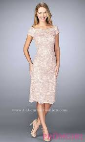 this intricately designed blush lace knee length prom dress with