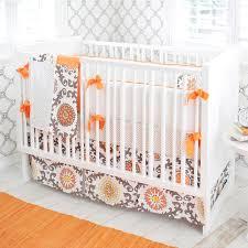 Orange Crib Bedding Nursery Bedding Orange Gray And Orange Nursery