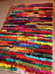Multi Coloured Rug Uk Plain Multi Coloured Shaggy Pile Recycled Chindi Rag Rug