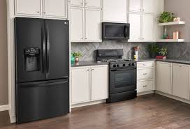 gray kitchen cabinets with black stainless steel appliances why you ll lg matte black kitchen appliances