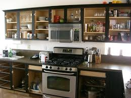 appealing stained kitchen black cabinets over sweet grey garnite