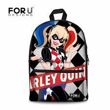 forudesigns harley quinn backpack for boys children