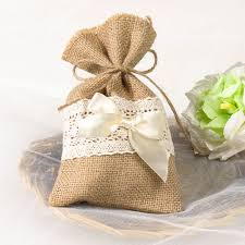 burlap and lace ribbon burlap lace wedding bridal shower favor bag with ribbon bow