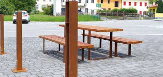 pic bull wood and corten steel seating system id metalco inc