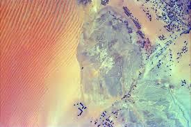 rub al khali map space images sand dunes and center pivot irrigation in saudi arabia