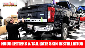 Ford F350 Truck Accessories - hood letters u0026 tail gate skin installation on a 2017 ford f350