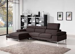 Fabric Modern Sofa Brown Fabric Modern Sectional Sofa W Metal Legs Side Table