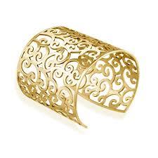 cuff metal bracelet images Mondevio 18k gold over stainless steel filigree design cuff jpg