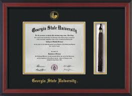 gsu diploma frame cherry w gsu seal tassel black on gold mat