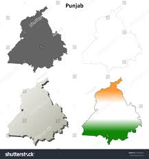 Punjab Map Punjab Blank Detailed Outline Map Set Stock Vector 216682024