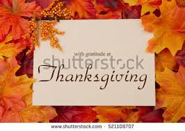 happy thanksgiving greeting some fall leaves stock photo 504830248