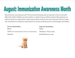 august is national immunization awareness month is your pet