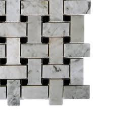 splashback tile magnolia weave white carrera with black dot marble