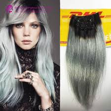 Online Clip In Hair Extensions by 2015 Fashion Black To Grey Mermaid Colorful Ombre Brazilian Clip