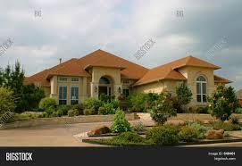 modern brick house modern brick stucco house image u0026 photo bigstock