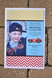 boys birthday thank you cards invitations chevron race car