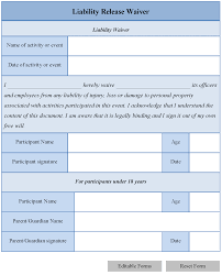 accident injury report form template liability waiver form template
