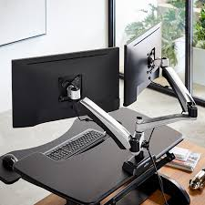 2 Monitor Computer Desk Dual Monitor Arm Mount Monitor Stands Varidesk