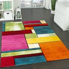 Tapis Salon Multicolore by Tapis Design à Carreaux Contour Trendy Multicolore L U0027oeil Vert