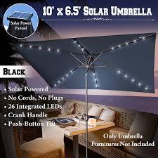 Rectangular Patio Umbrella With Solar Lights by Amazon Com New 10 U0027x6 5 U0027 Outdoor Solar Powered 26 Led Lights