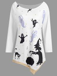 Plus Size Halloween Shirts by Plus Size Halloween Cat Witch Asymmetrical Tee White Xl In Plus