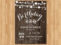 birthday bbq invitation 60th wood rustic bbq party invitation