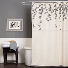 fabric shower curtain floral gray and purple color baroom decor