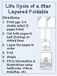 students create a 8 layer foldable on the star life cycle