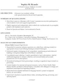 Good Job Objectives For A Resume by Resume For A Librarian In An Academic Setting Susan Ireland Resumes